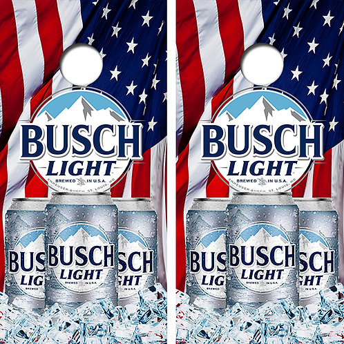 Busch Light American Flag Cornhole Wood Board Skin Wrap