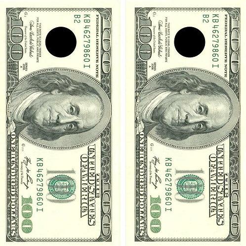 $100 Bill Cornhole Wood Board Skin Wrap