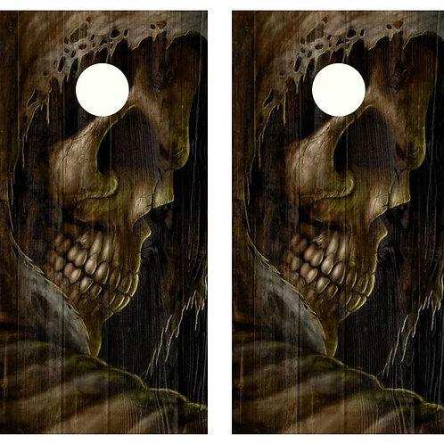 Grim Reaper Barnwood Cornhole Wood Board Wrap