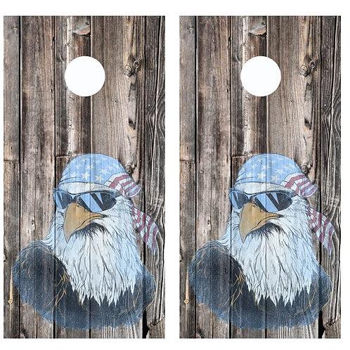 American Flag Bandana Eagle Barnwood Cornhole Wood Board Skin Wrap