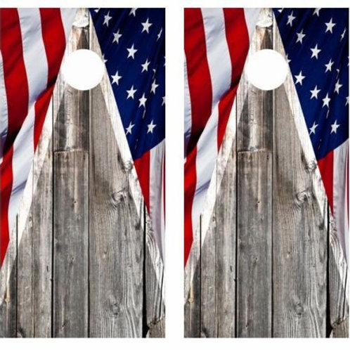 Patriotic Flag & Barnwood Cornhole Wood Board Skin Wraps FREE L