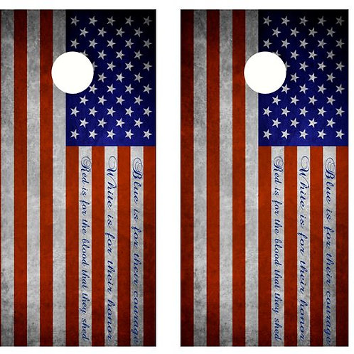 Blue Is For Their Courage.. Flag Cornhole Wood Board Skin Wrap