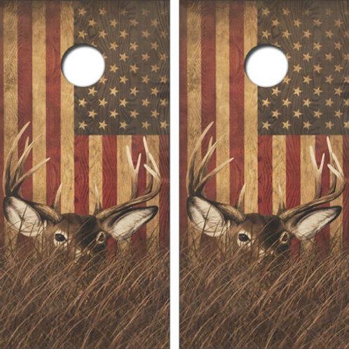 Deer American Flag Cornhole Wood Board Skin Wraps FREE LAMINAT
