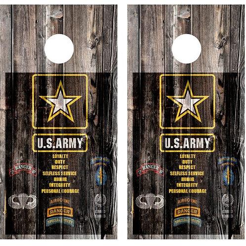 U.S. Army Barnwood Cornhole Wood Board Skin Wrap
