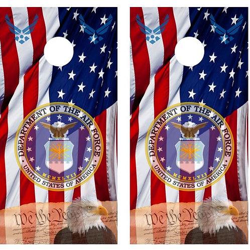 We The People/ Air Force  American Flag Cornhole Board FREE LAMINATE