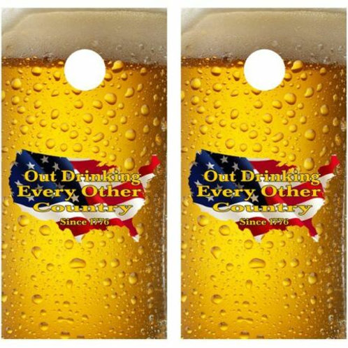America Out Drinking.. Cornhole Wood Board Skin Wrap