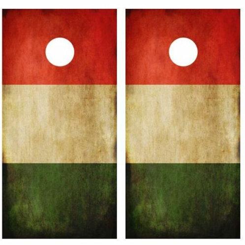 Grunge Italian Flag Cornhole Wood Board Skin Wrap