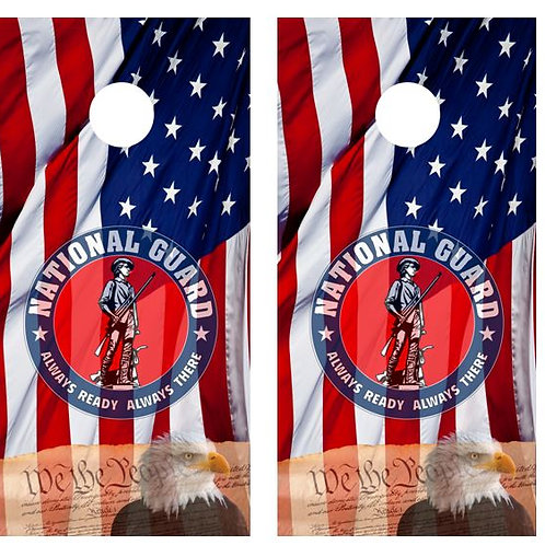 We The People/ National Guard American Flag Cornhole Board FREE LAMINATE