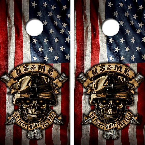 US Marines American Flag Cornhole Wood Board Skin Wrap