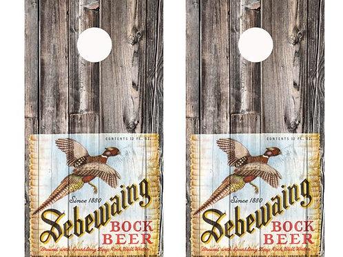 Vintage Sebewaing Bock Beer Bottle Label Barnwood Cornhole Wood Board Skin Wrap