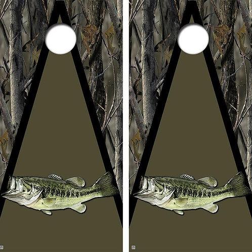 Largemouth Bass Camo Cornhole Wood Board Skin Wrap