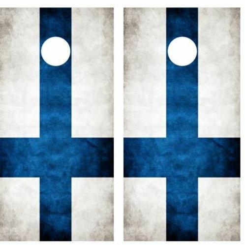 Grunge Finnish Flag Cornhole Wood Board Skin Wrap