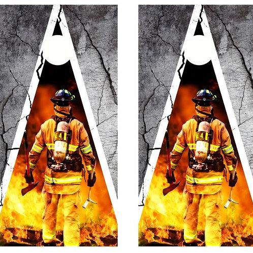 Firefighter Themed Cornhole Wood Board Skin Wrap