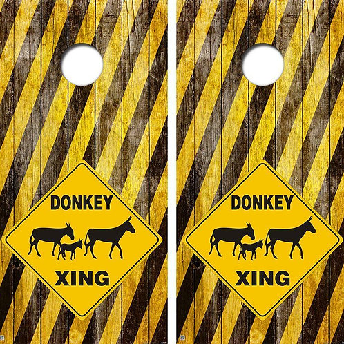 Donkey Xing Cornhole Wood Board Skin Wrap