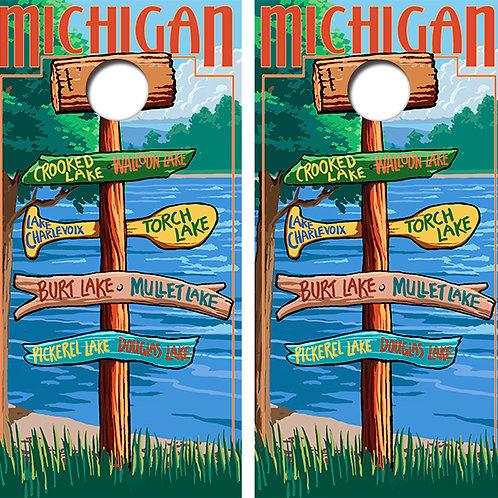 Northern Michigan Cornhole Wood Board Skin Wraps FREE LAMINATE