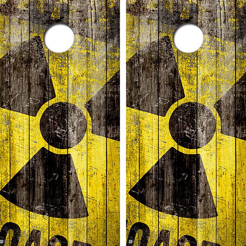 Radioactive Vintage Style Cornhole Board Skin Wraps FREE LAMINATE