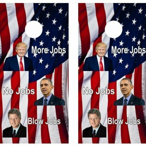 Trump Jobs Jobs Jobs Cornhole Wood Board Skin Wraps