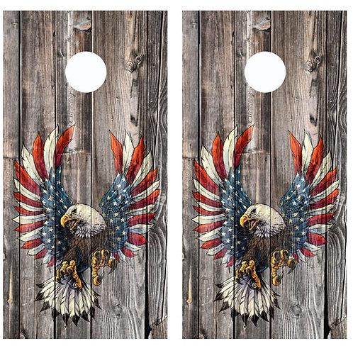 American Flag Winged Eagle Barnwood Cornhole Wood Board Skin Wrap