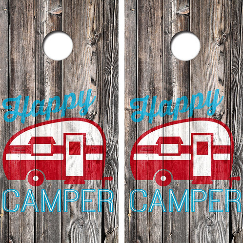 Happy Camper Cornhole Wood Board Skin Wraps FREE LAMINATE