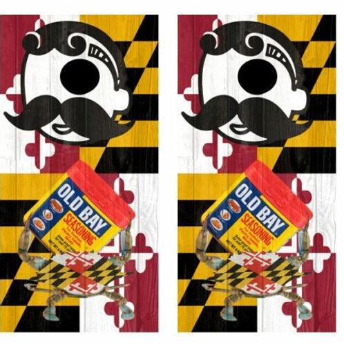 Maryland Themed Barnwood Cornhole Wood Board Skin Wraps
