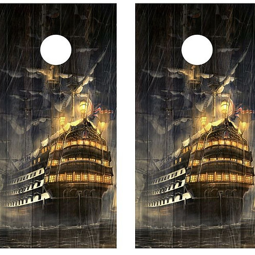 Tall Ship At Night Barnwood Cornhole Wood Board Skin Wrap