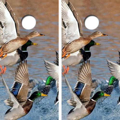 Flying Mallard Ducks Cornhole Wood Board Skin Wrap