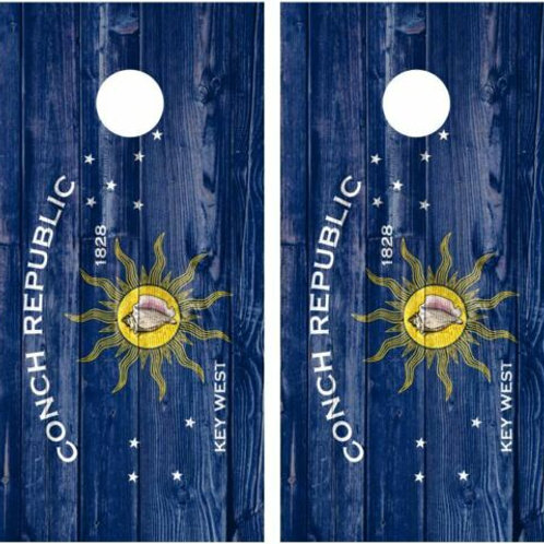 Conch Republic Barnwood Cornhole Wood Board Skin Wrap