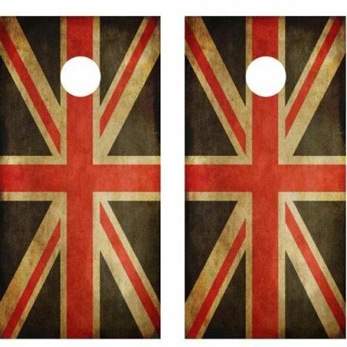 Grunge United Kingdom Flag Cornhole Wood Board Skin Wrap