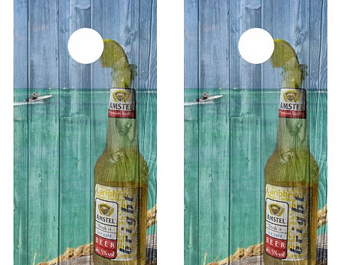 Amstel Beer Bottle Barnwood Cornhole Wood Board Skin Wrap