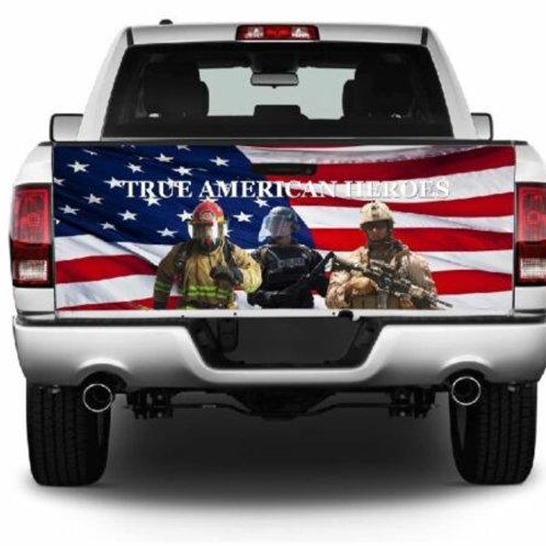True American Heros American Flag Truck Tailgate Wrap Vinyl Graphic Decal Sti