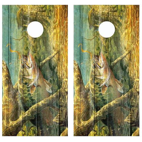 Bass Fishing Barnwood Cornhole Wood Board Skin Wrap