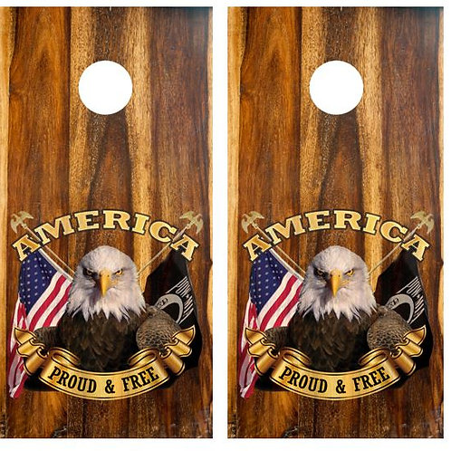 American Proud & Free Cornhole Wood Board Skin Wrap