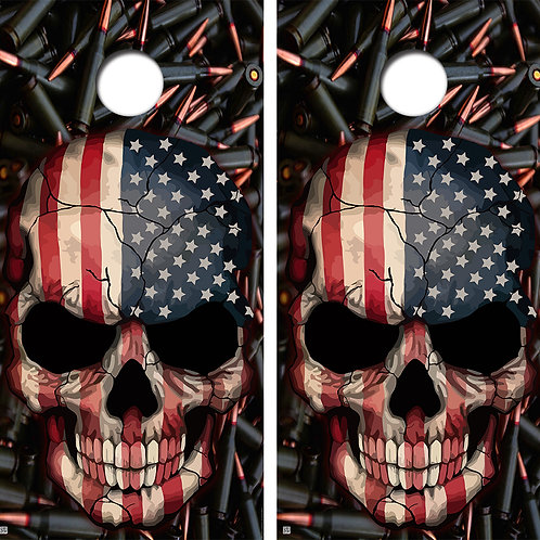 American Flag Skull Cornhole Board Skin Wraps FREE LAMINATE