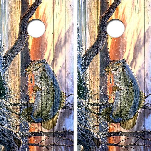 Bass Cornhole Board Skin Wraps FREE LAMINATE