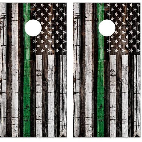 Thin Green Line Flag Cornhole Wood Board Skin Wrap