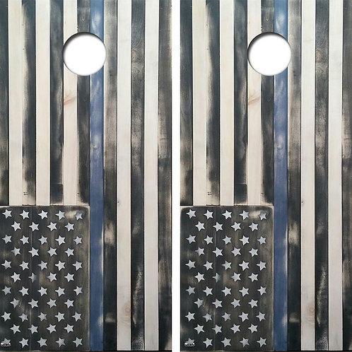 Blue Lives Flag Cornhole Wood Board Skin Wrap