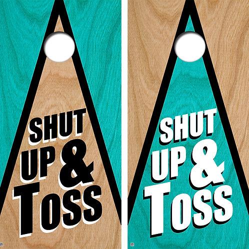 Shut Up & Toss Triangle Cornhole Board Skin Wraps FREE LAMINATE