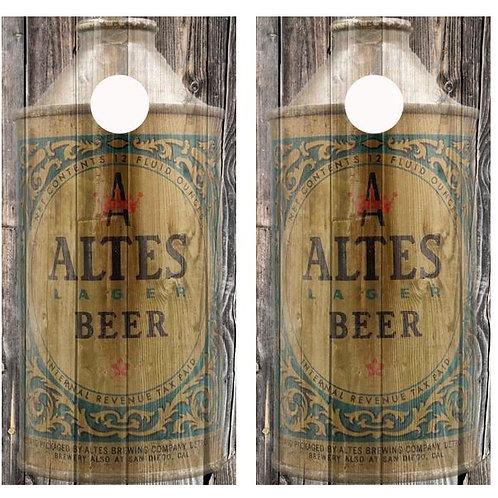 Vintage Altes Beer -  Beer Can Barnwood Cornhole Wood B
