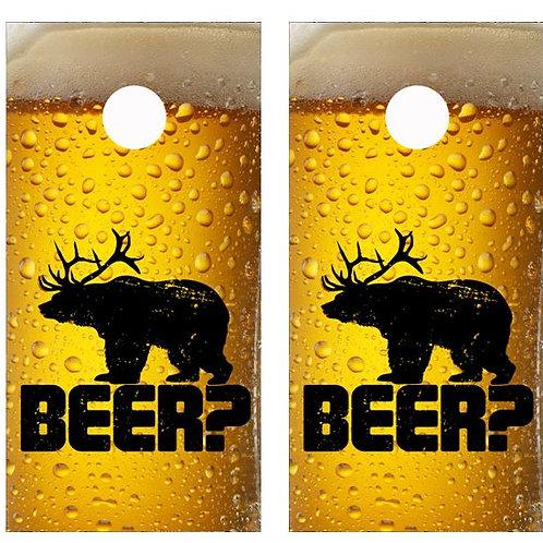 Ice Cold Beer? Cornhole Wood Board Skin Wr