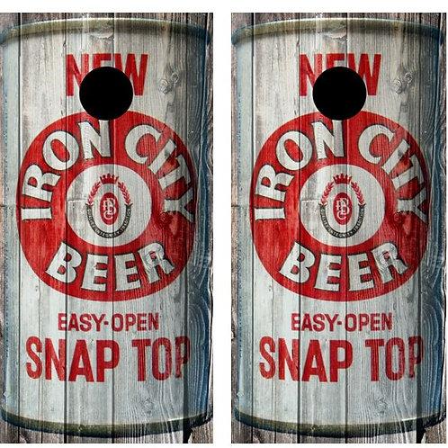 Vintage Iron City Beer - Beer Can Barnwood Cornhole Woo