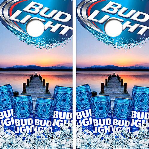 Bud Light On Ice Ocean View Cornhole Wood Board Skin Wrap