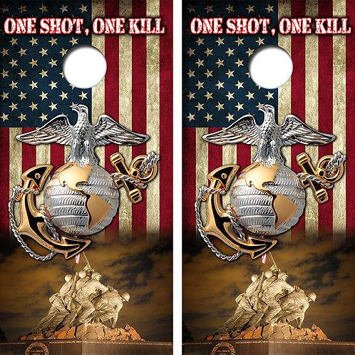 Marines One Shot One Kill Cornhole Wood Board Skin Wraps FREE LAMINATE