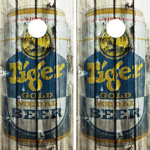 Tiger Gold Metal Beer Vintage Cornhole Wrap FREE LAMINATE