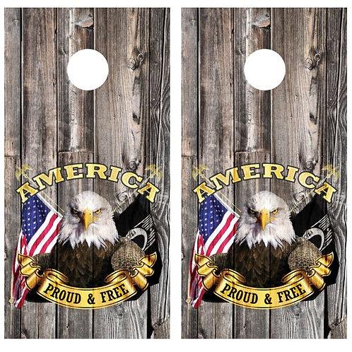 American Proud And Free Cornhole Wood Board Skin Wrap