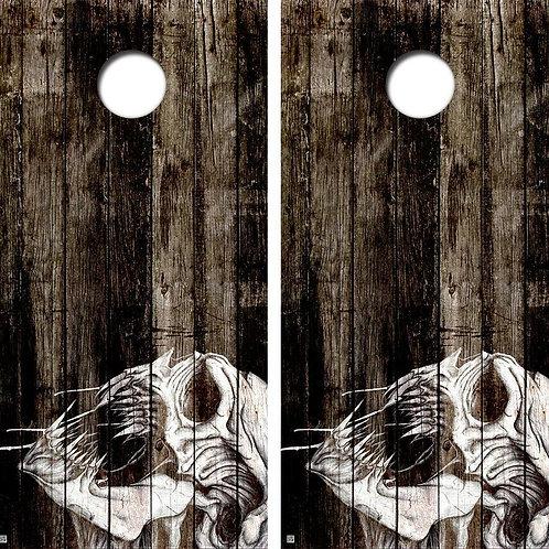 Drooling Deamon Skull Cornhole Wood Board Skin Wrap