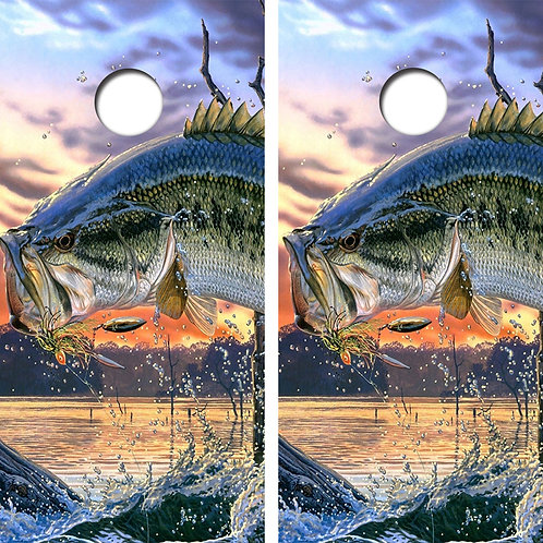 Jumping Bass Fishing Cornhole Boar FREE LAMINATE