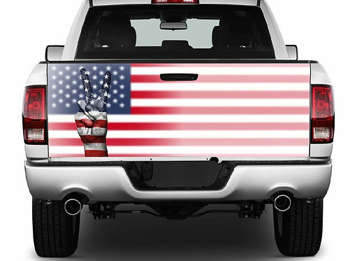 Peace Sign American Flag Truck Tailgate Wrap Vinyl Graphic Decal Sticker