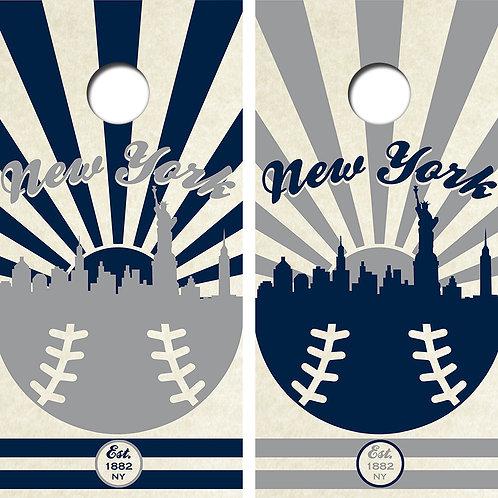 New York Baseball Cornhole Wood Board Skin Wraps FREE LAMINATE