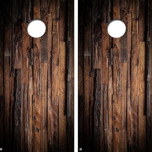 Dark Uneven Hard Wood Cornhole Wood Board Skin Wrap
