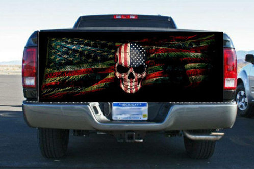 Grunge American Flag and Skull Rear Tailgate Wrap Vinyl Graphic Decal Sticker